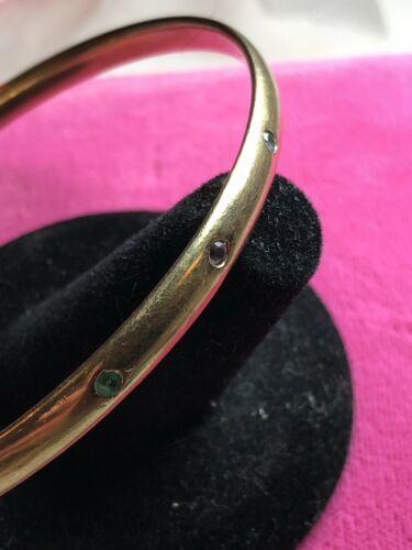 17.94 Grams Solid 9ct Yellow Gold Bangle Bracelet Diamond Amethyst Emerald Inset
