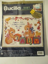 Bucilla Baby Counted Cross Stitch Bashful Bunny Birth Record 42546 - $11.87