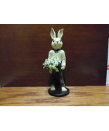 Mr. Bunny Figurine Holding Basket of Lily of the Valley - $16.99