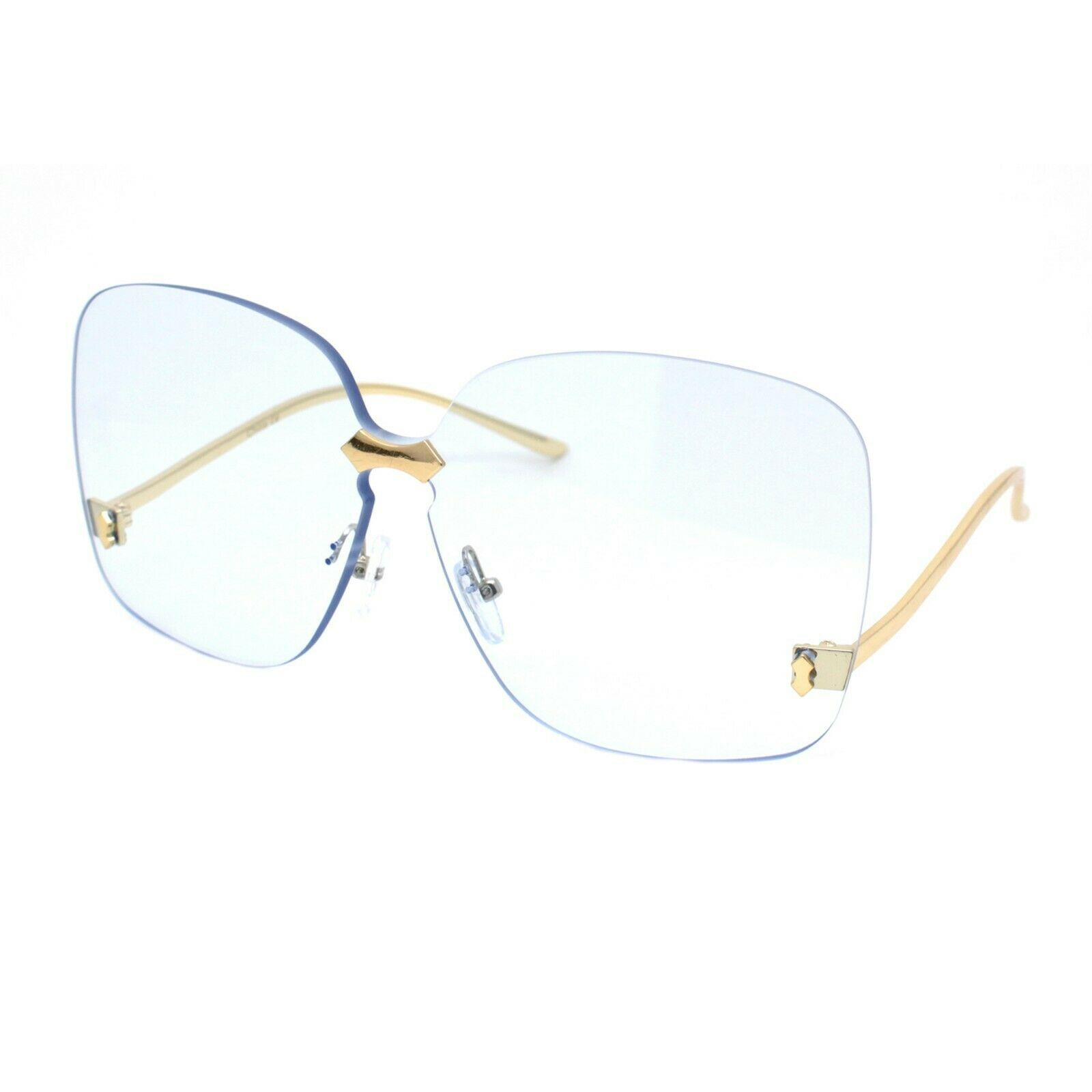 Womens Oversized Sunglasses Rimless Square Low Gold Temple UV 400
