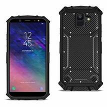Reiko Samsung Galaxy A6 Carbon Fiber Hard-Shell Case in Black - $10.61