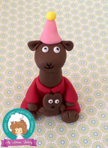 Llama Llama red pajamas inspired  fondant cake topper - $34.00