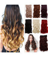 "120-200g 17-30"" Long Clip in Full Head hair Extensions as remy human hai... - £12.01 GBP"