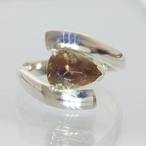 Oregon Cocoa Sunstone Faceted Pear Hand Crafted 925 Silver Ladies Ring size 7.25 - £89.92 GBP
