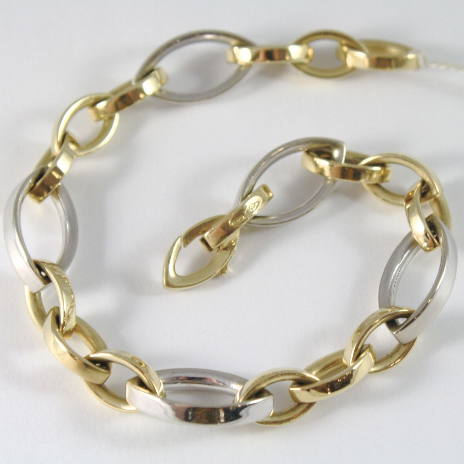 Solid Bracelet in Gold Yellow White 750 18k with ALTERNATING OVAL, 21 cm