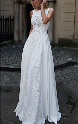 2018 white long prom dress sleeveless lace a-line evening dress,HH059