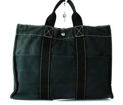 Authentic HERMES Paris Fourre Tout MM Black 100% Cotton Canvas Tote Hand Bag - $137.61