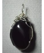 Apache Tear Pendant  Wire Wrapped  .925 Sterling Silver - Jemel  - $44.00