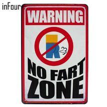 No Fart Zone Metal Signs Home Decor Vintage Tin Signs Pub Vintage Decora... - £15.94 GBP