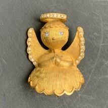 Vintage Signed Ultra Angel Brooch Pin Brushed Gold Tone Blue Clear Rhine... - $14.80