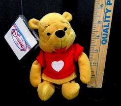"DISNEY STORE Winnie The Pooh Valentine Red Sweater Heart 8"" PLUSH Stuffed - $11.87"