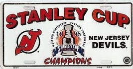 NEW JERSEY DEVILS LOGO 1995 STANLEY CUP CHAMPS   NHL HOCKEY LICENSE PLATE - $27.07