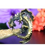 Vintage winged dragon pendant artisan handcrafted figural brass bronze thumbtall