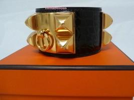 Hermes CDC Alligator Marron Collier de Chien Cuff Bracelet New - $2,295.00
