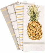 "Hand Towel Set of 4 Coastal Decor 18"" x 28"" 100% Cotton Pineapple Beach ... - $29.00"