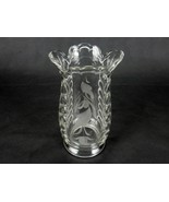 "Glass Flower Vase, Large Bouquet, 7""H x 2.75"", Etched, Bubbled Glass, Sc... - $24.45"