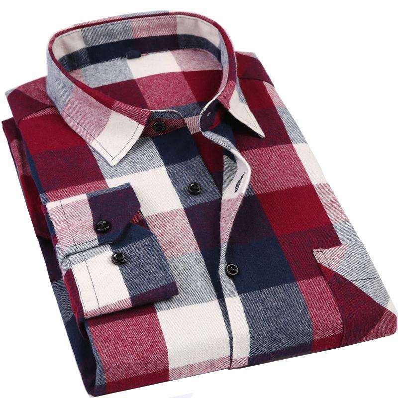 Primary image for Men's Long Sleeve Flannel Plaid Shirt 100% Cotton Spring Festival Autumn Soft Co