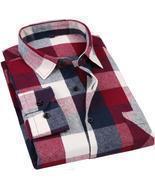 Men's Long Sleeve Flannel Plaid Shirt 100% Cotton Spring Festival Autumn... - £34.82 GBP