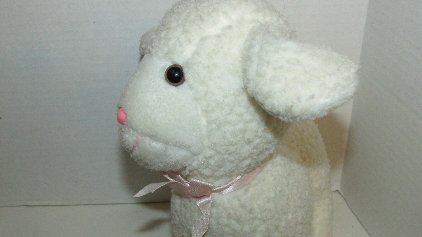 Enesco plush firm standing lamb sheep nubby fur pink bow older off-white cream image 3