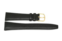 TIMEX 20MM BLACK STITCHED CLIK-ON GENUINE LEATHER WATCH BAND STRAP - $9.89