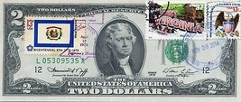 MONEY US $2 DOLLARS 1976  DAY STAMP CANCEL STATE FLAG WEST VIRGINIA LUCK... - $191.25
