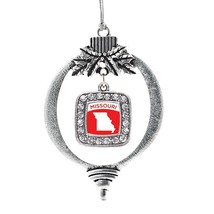 Inspired Silver Missouri Outline Classic Holiday Christmas Tree Ornament With Cr - $14.69