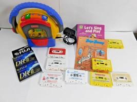 Fisher Price Tuff Stuff Tape Player Recorder Mic + 10 Cassettes Books + ... - $42.06