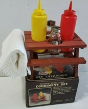Original Redwood Picnic Table Condiment Set Salt Pepper Ketchup Mustard VTG - $12.86