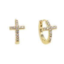 classic design cz cross small hoop earring for women religious cross circle fact - $13.71