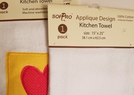 Kitchen Hand Towels set of 2 Velour Applique Patchwork Hearts Stars Red Yellow image 6