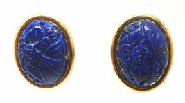 14k Gold Genuine Natural Lapis Post Earrings with Carved Flowers (#3507) - $277.88