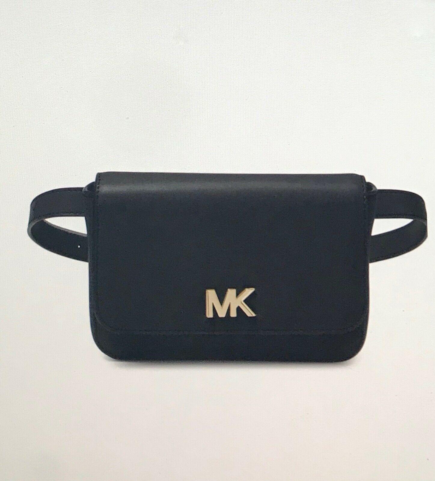 NWT Michael Kors Mott Small Leather Belt Bag/ Black