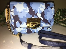 MICHAEL KORS TINA SMALL CLUTCH NAVY BLUE FLORAL SAFFIANO LEATHER CHAIN NEW - £58.77 GBP