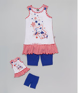 Girl 4-14 and Doll Matching 4th July Patriotic Tunic Shorts Outfit Ameri... - $21.99