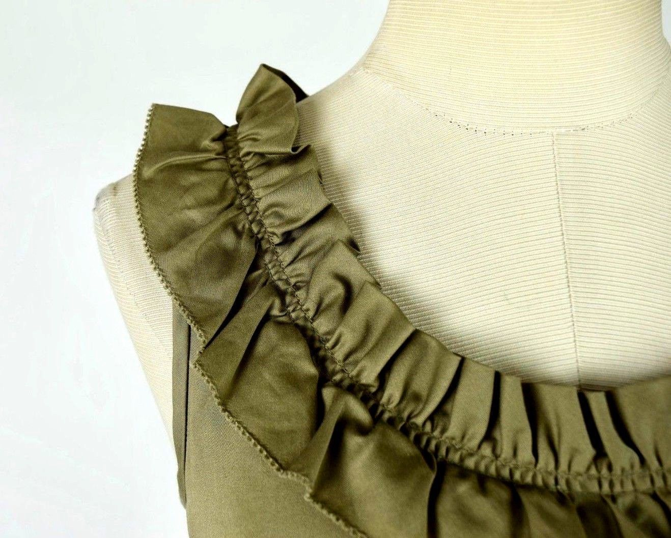 J.Crew Olive Ruffled Cotton Boat Neck Knee Length Shift Dress Sleeveless M image 7