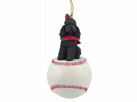 Poodle Chocolate w/Sport Cut Baseball Ornament - $17.99