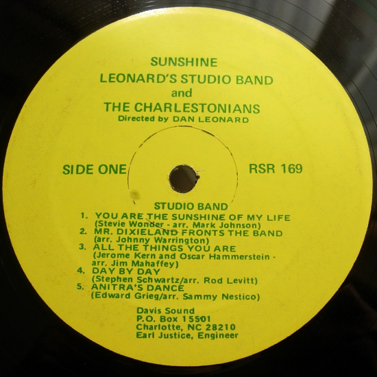 Sunshine - Dan Leonard's Studio Band & The Charlestonians - Davis Sound RSR169