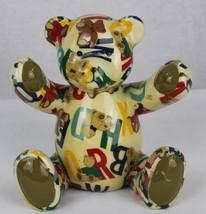 Patchwork alphabet letter Teddy bear piggy Bank porcelain size 7 In - $13.90