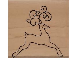 Hero Arts 2007 Flourish Reindeer Wood Mounted Rubber Stamp #D4792