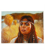 Senza Titolo (Nativi Americani Girl Su Prarie) Di Anthony Sidoni 1986 Ol... - $7,484.30