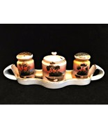 Condiment Set Tray with Salt & Pepper Lidded Jam or Mustard Jar Vintage ... - $29.69
