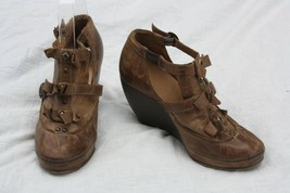 Schuler & Sons Anthropologie 37 Brown Leather Bow Stud Wedge Heel Bootie - $26.60