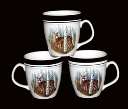 3 Folkcraft White Tail Deer Large Black Rim Speckled Mugs Disc By Scottyz Htf - $21.99