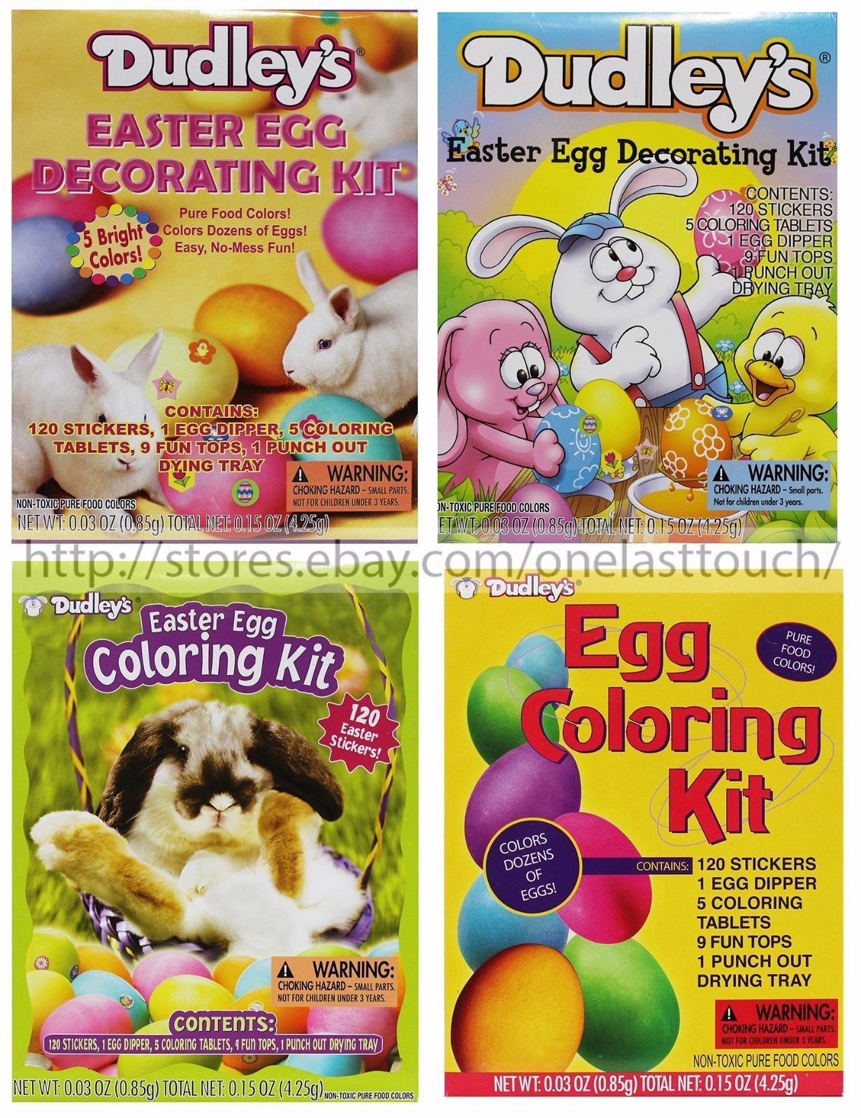 DUDLEY'S* Egg Decorating Kit EASTER Pure Food Colors STICKERS New! *YOU CHOOSE*