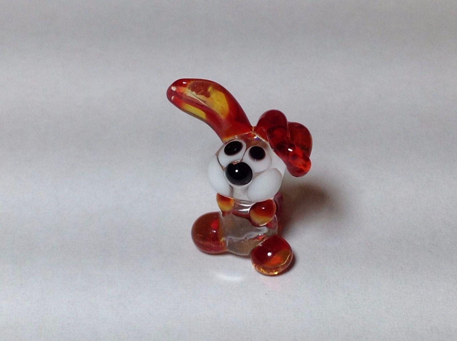 Miniature Glass bunny rabbit w floppy ear Handmade Blown Glass Made USA