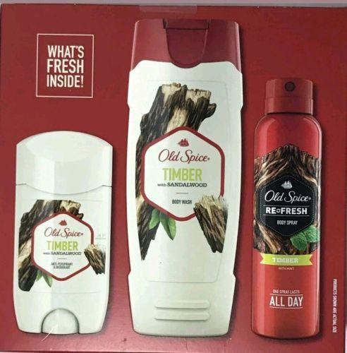 Old Spice Timber 3pcs Gift Set - Body Wash, Anti-Prespirant, Body Spray