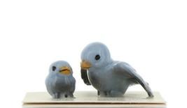 Hagen Renaker Miniature Bluebird Tweety Ma and Chick Ceramic Figurine Set of 2 image 1