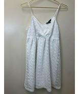 Express Women's White Sleeveless V-Neck Crochet Lined Dress, Size S Smal... - $16.70