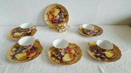 Vintage Lefton China Snack Plate and Tea Cup Set Heritage Brown Fruit Set of 6 - $99.99