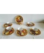 Vintage Lefton China Snack Plate and Tea Cup Set Heritage Brown Fruit Se... - $99.99